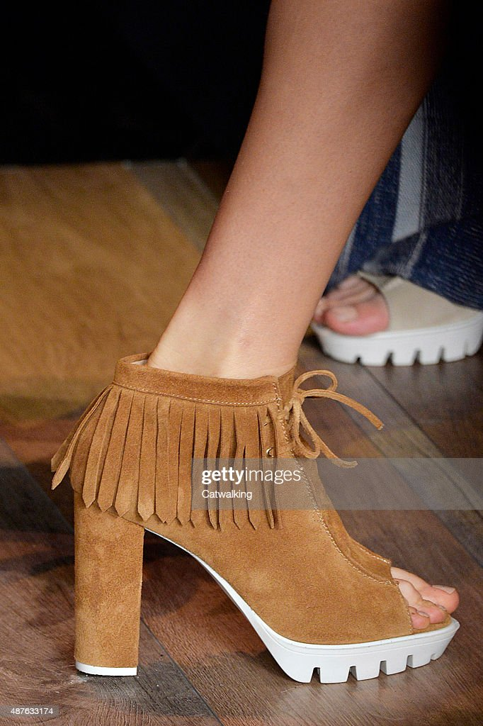 Accessories shoe detail on the runway at the BCBG Spring Summer 2016 fashion show during New York Fashion Week on September 10 2015 in New York...