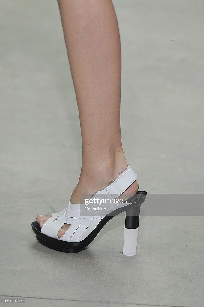 Accessories shoe detail on the runway at the Calvin Klein Spring Summer 2014 fashion show during New York Fashion Week on September 12, 2013 in New York, United States.