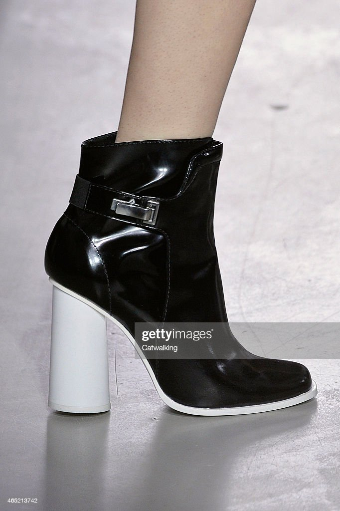 Accessories shoe detail on the runway at the Cedric Charlier Autumn Winter 2015 fashion show during Paris Fashion Week on March 4 2015 in Paris France
