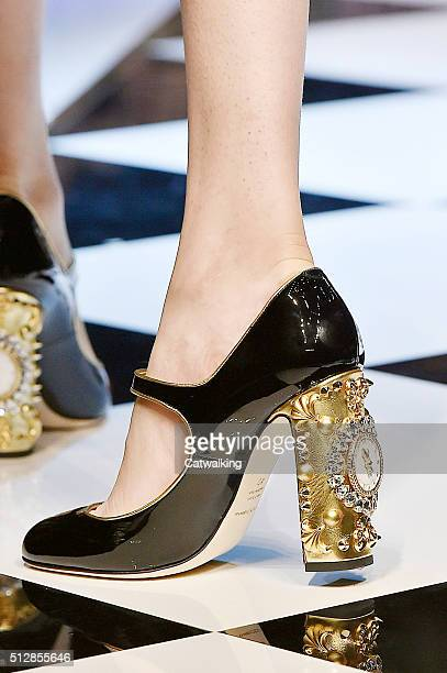 Accessories shoe detail on the runway at the Dolce Gabbana Autumn Winter 2016 fashion show during Milan Fashion Week on February 28 2016 in Milan...