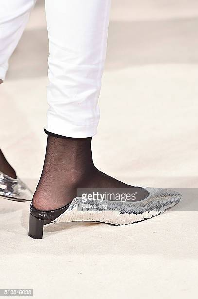 Accessories shoe detail on the runway at the Loewe Autumn Winter 2016 fashion show during Paris Fashion Week on March 4 2016 in Paris France
