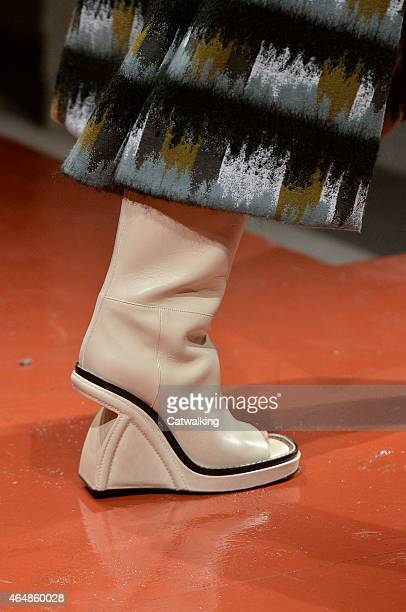 Accessories shoe detail on the runway at the Marni Autumn Winter 2015 fashion show during Milan Fashion Week on March 1 2015 in Milan Italy