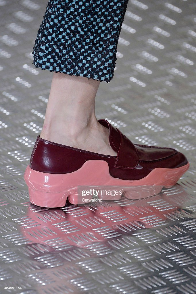 Accessories shoe detail on the runway at the Prada Autumn Winter 2015 fashion show during Milan Fashion Week on February 26 2015 in Milan Italy