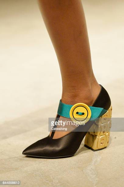 Accessories shoe detail on the runway at the Prada Autumn Winter 2017 fashion show during Milan Fashion Week on February 23 2017 in Milan Italy