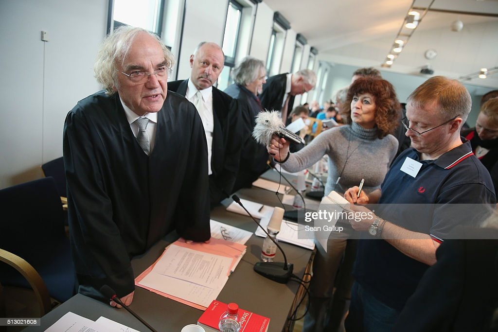 Accessory prosecutor Thomas Walther who is representing joint plaintiff and Auschwitz survivor Walter Plywaski speaks to the media on the first day...