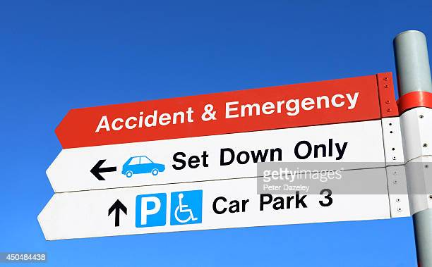 NHS accident and emergency sign at Kingston Hospital in June 2014 in London