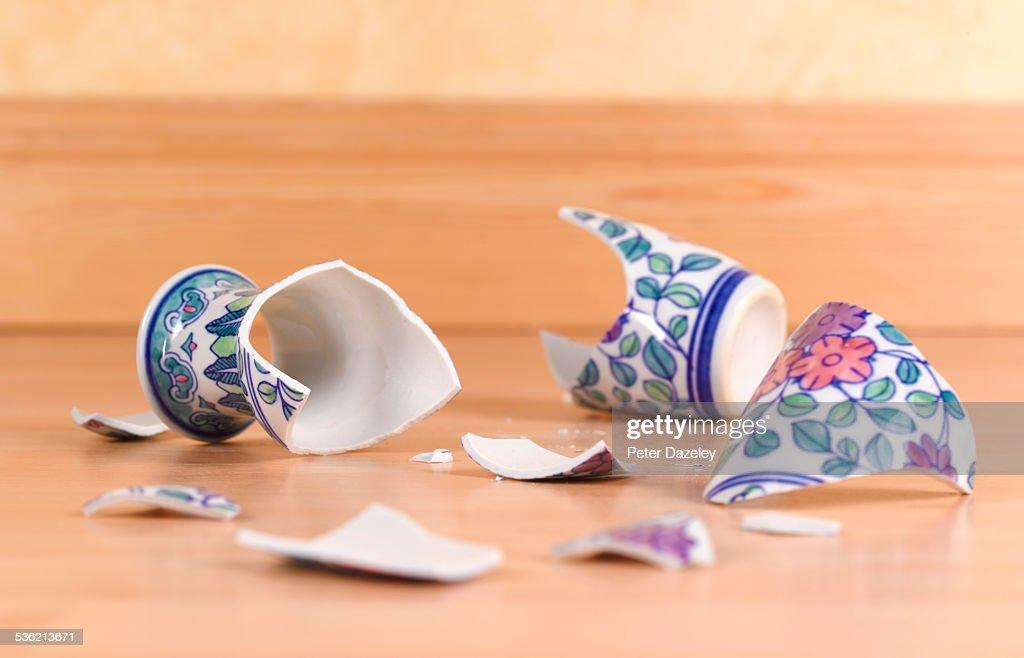 Accident broken antique vase
