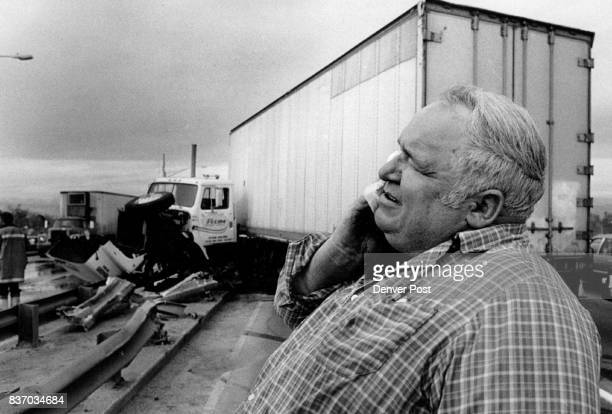 Accident involving a semi a pickup truck and two cars snarled traffic but caused no serious injuries Larry A Hawkins 45 holds his neck after accident...