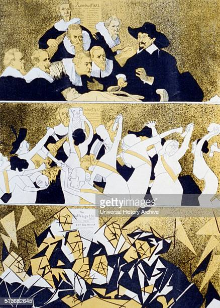 Accidental cubists Illustration showing a three panel cartoon with Rembrandt's painting 'The Anatomy Lesson' at the top and a group of angry...