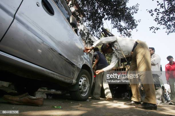 Accidents A traffic cop inspecting the car of 60yearold Indrajit Kaur that rammed into 13 people and killed one of them near Senapati Bapat Marg in...