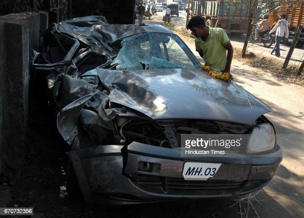 Accidents Drink Driving Drunken Driving Accident car Ford Icon MH03S2360 outside the Kashimira police station Larsen Almeidea died after he crashed...