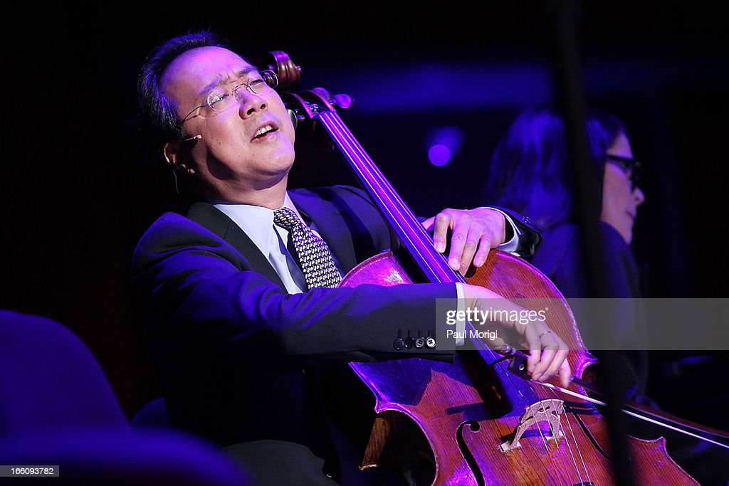 Acclaimed artist and arts educator <a gi-track='captionPersonalityLinkClicked' href=/galleries/search?phrase=Yo-Yo+Ma&family=editorial&specificpeople=235395 ng-click='$event.stopPropagation()'>Yo-Yo Ma</a> performs at The Nancy Hanks Lecture on Art and Public Policy sponsored by Ovation at John F. Kennedy Center for the Performing Arts on April 8, 2013 in Washington, DC.