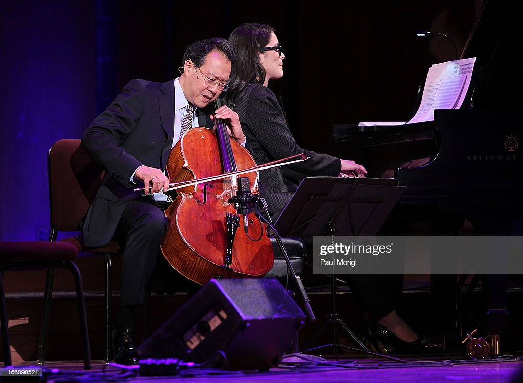 Acclaimed artist and arts educator <a gi-track='captionPersonalityLinkClicked' href=/galleries/search?phrase=Yo-Yo+Ma&family=editorial&specificpeople=235395 ng-click='$event.stopPropagation()'>Yo-Yo Ma</a> performs with classical pianist Cristina Pato at The Nancy Hanks Lecture on Art and Public Policy sponsored by Ovation at John F. Kennedy Center for the Performing Arts on April 8, 2013 in Washington, DC.