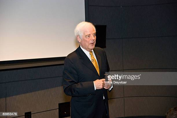 Acclaimed journalist Nick Clooney speaks with guests during the screening of 'Moments That Changed Us Steve Wozniak' at the Newseum on November 28...