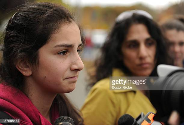 Accompanied by her mother Danvers High School student Emily Nestor talked to members of the media across the school on October 25 the first day...