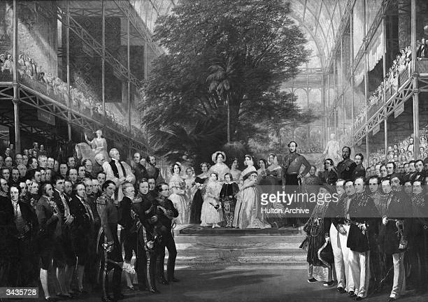 Accompanied by Prince Albert and her children Queen Victoria opens the Great Exhibition in the Crystal Palace London An engraving by H Selous