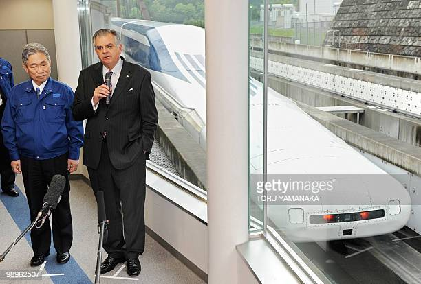 Accompanied by Yoshiyuki Kasai chairman of Central Japan Railway US Transport Secretary Ray LaHood answers questions after his test run on the Maglev...