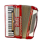 musical instrument red accordion, front view, outdated device