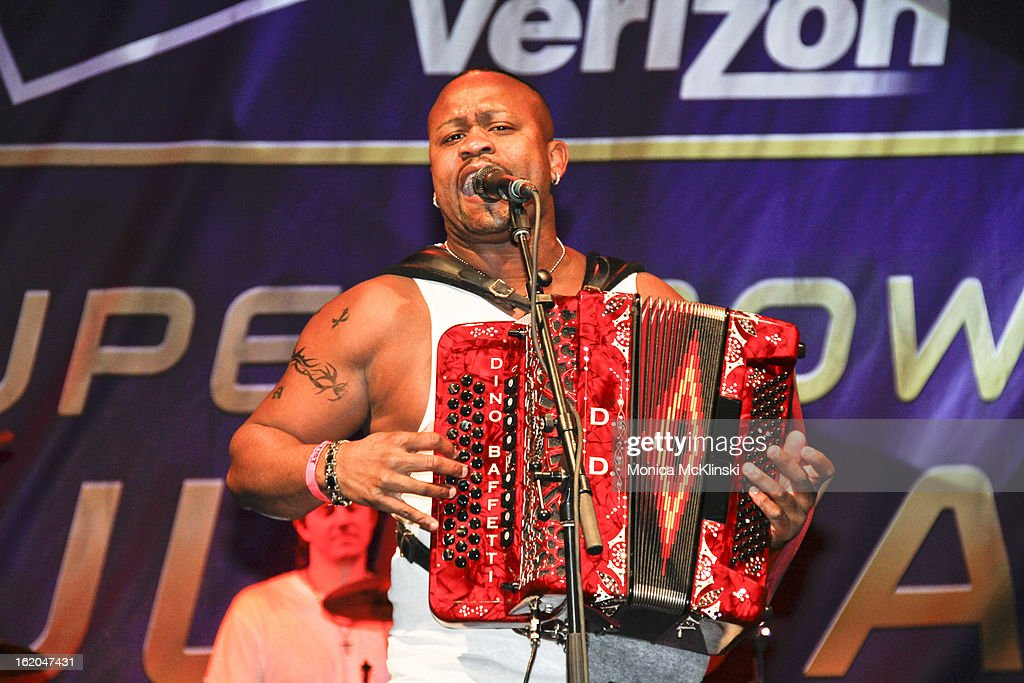 Accordionist Dwayne Dopsie of Dwayne Dopsie & The Zydeco Hellraisers performs during the Verizon Super Bowl Boulevard at Woldenberg Park on February 1, 2013 in New Orleans, Louisiana.