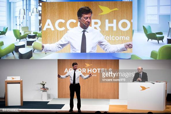 AccorHotels CEO Sebastien Bazin and AccorHotels CFO Jean Jacques Morin announce their 2016 annual results during a press conference on February 22...