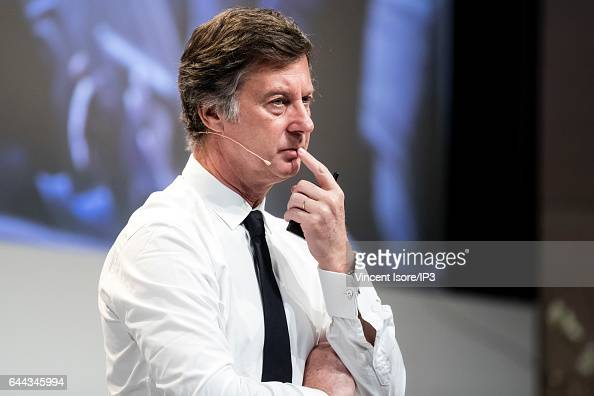 AccorHotels CEO Sebastien Bazin announces its 2016 annual results during a press conference on February 22 2017 in Issy Les Moulineaux France...