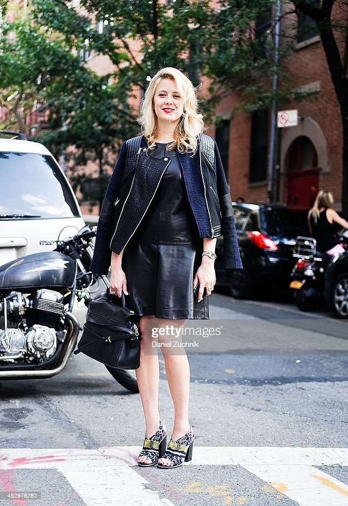 Account Executive Noelle Walker is seen around Nolita wearing a Rebecca Taylor jacket and dress, Zara shoes and a Marc Jacobs bag on July 31, 2014 in New York City.