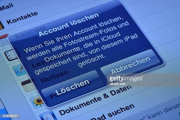 Account loeschen beim iCloud Ipad Tabletcomputer