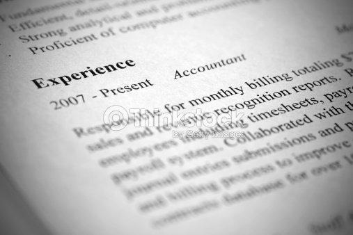 Account Manager Modern Resume Closeup Tilt View And Shallow De Stock ...