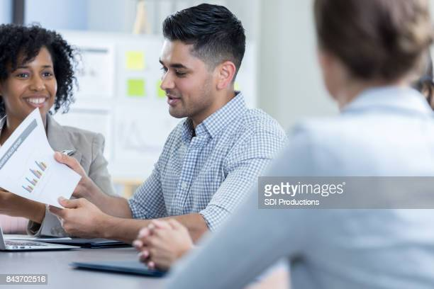 Accountant gives financial update during meeting