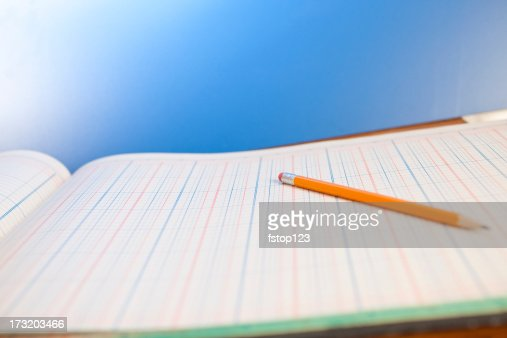 Accounting Ledger page with pencil.  Blue background