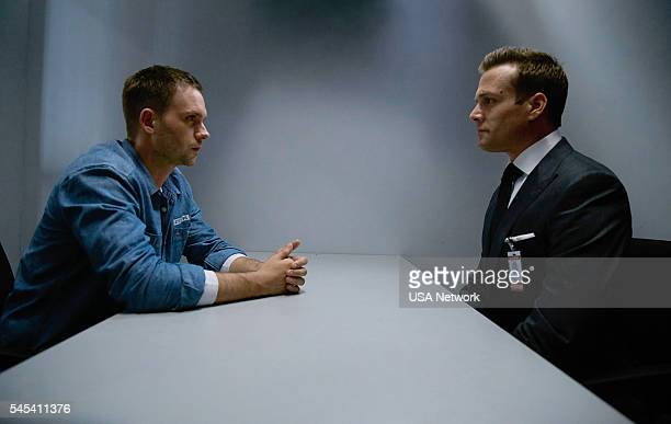 SUITS 'Accounts Payable' Pictured Patrick J Adams as Michael Ross Gabriel Macht as Harvey Specter