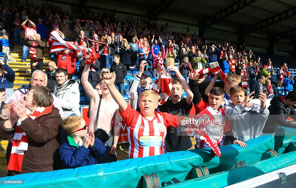 Accrington Stanley fans during the Sky Bet League Two match between Wycombe Wanderers and Accrington Stanley at Adams Park on April 30, 2016 in High Wycombe, England.