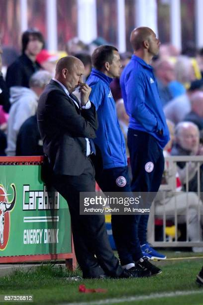 Accrington Stanley manager John Coleman during the Carabao Cup Second Round match at the Wham Stadium Accrington