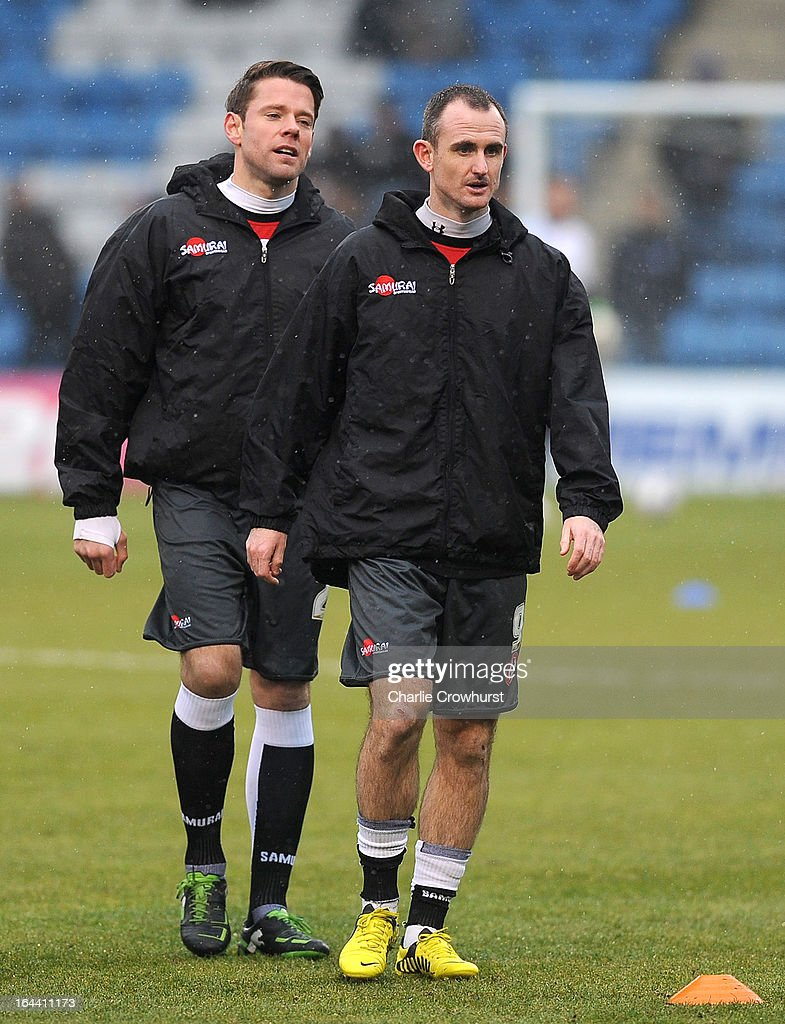 Accrington Stanley pair <a gi-track='captionPersonalityLinkClicked' href=/galleries/search?phrase=James+Beattie&family=editorial&specificpeople=206192 ng-click='$event.stopPropagation()'>James Beattie</a> (L) and <a gi-track='captionPersonalityLinkClicked' href=/galleries/search?phrase=Francis+Jeffers&family=editorial&specificpeople=961524 ng-click='$event.stopPropagation()'>Francis Jeffers</a> (R) in the warm up before the npower League Two match between Gillingham and Accrington Stanley at The Priestfield Stadium on March 23, 2013 in Gillingham, England.