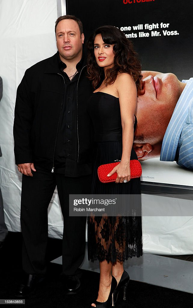 Acctors Kevin James (L) and <a gi-track='captionPersonalityLinkClicked' href=/galleries/search?phrase=Salma+Hayek&family=editorial&specificpeople=201844 ng-click='$event.stopPropagation()'>Salma Hayek</a> attends 'Here Comes The Boom' premiere the at AMC Loews Lincoln Square on October 9, 2012 in New York City.