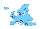 Accurate 3d map of europe with iceland isolated on white