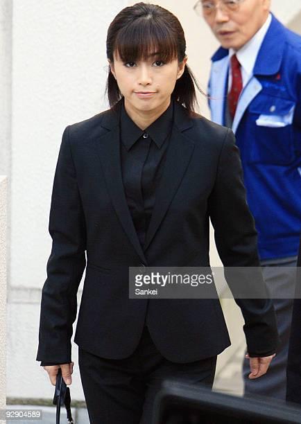 Accused actress Noriko Sakai leaves her home for Tokyo District Court on November 9 2009 in Tokyo Japan Sakai was sentensed to 18 months in prison...