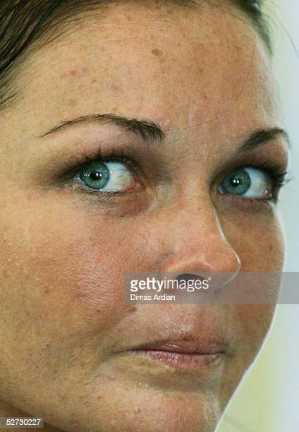 Accused Australian Drug Runner Schapelle Corby listens to her defense lawyers delivering a 70page final submission to the court on April 28 2005 at...