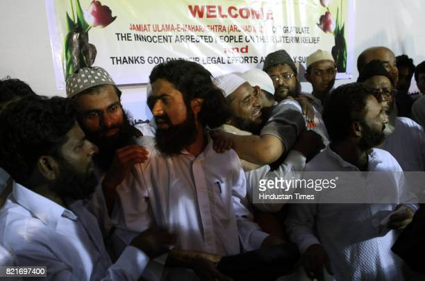 Accused in 2006 Malegaon blast case during the press conferenc held at Dongri after court grant them bail on Wednesday