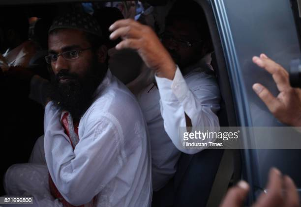 Accused in 2006 Malegaon blast case outside Arthur Road jail after court grant them bail on Wednesday