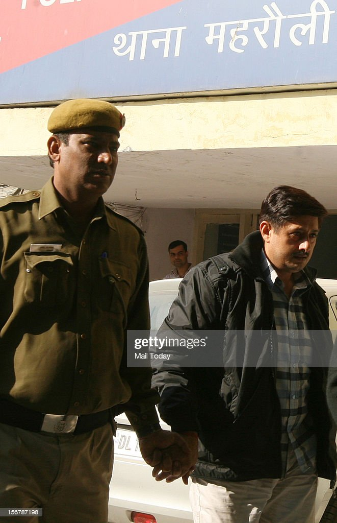 Accused in Ponty Chadha and Hardeep Chadha murder case being brought out of Mehrauli police station.