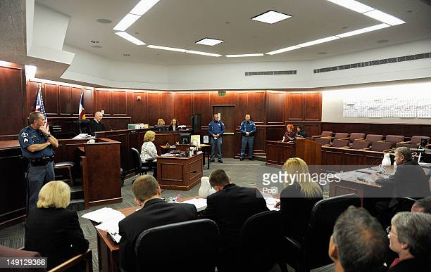 Accused movie theater shooter James Holmes makes his first court appearance at the Arapahoe County on July 23 2012 in Centennial Colorado According...