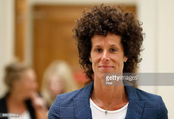 Accuser Andrea Constand leaves the courtroom after closing arguments in the sexual assault trial of entertainer Bill Cosby at the Montgomery County...