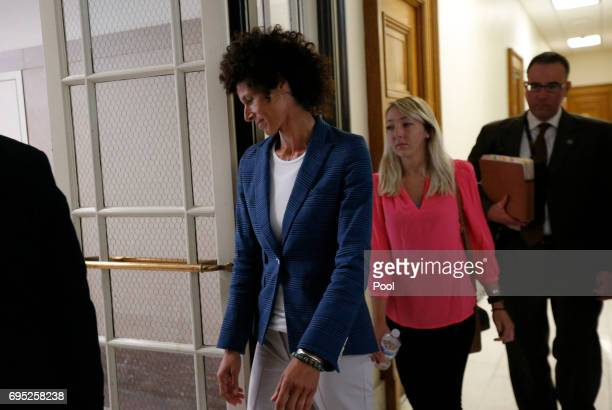 Accuser Andrea Constand leaves the courtroom during a break in the sexual assault trial of her husband entertainer Bill Cosby at the Montgomery...
