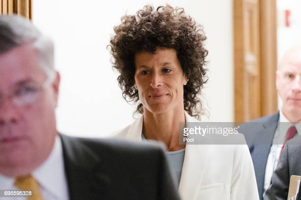 Accuser Andrea Constand walks from the courtroom during jury deliberations in entertainer Bill Cosby's trial on sexual assault charges at the...