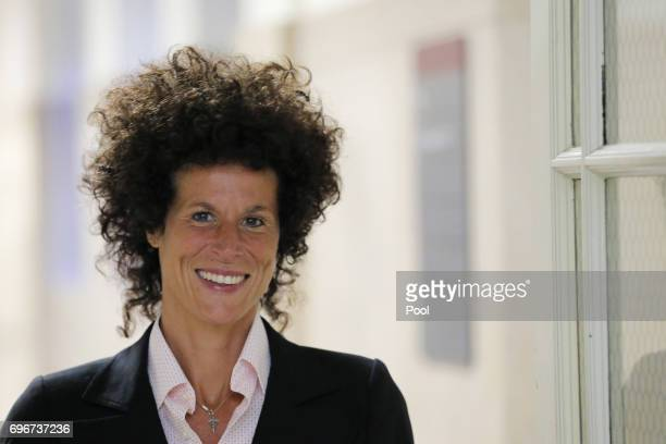 Accuser Andrea Constand walks in a hallway during the fifth day of deliberations in Bill Cosby's sexual assault trial at the Montgomery County...