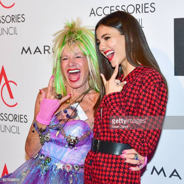 Ace Awards Style Icon honoree Betsey Johnson and actress Victoria Justice attend 21st Annual Ace Awards at Cipriani 42nd Street on August 7 2017 in...