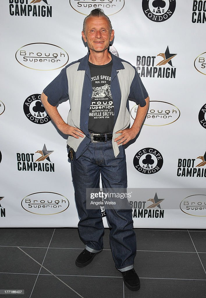 Ace Cafe owner Mark Wilsmore attends Return to the Salt with Brough Superior hosted by Jay Leno presented by Matchless and Ace Cafe at the The Petersen Automotive Museum on August 21, 2013 in Los Angeles, California.