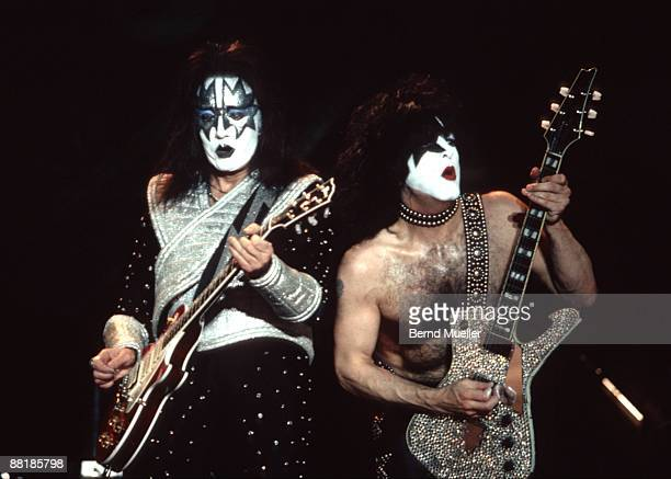 Ace Frehley and Paul Stanley of KISS perform on stage at the Rock im Park Festival in Nuremberg Germany on May 16 1997