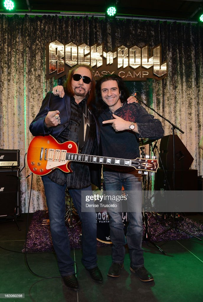 <a gi-track='captionPersonalityLinkClicked' href=/galleries/search?phrase=Ace+Frehley&family=editorial&specificpeople=226761 ng-click='$event.stopPropagation()'>Ace Frehley</a> and Phil Sausson during Rock 'n' Roll Fantasy Camp in Las Vegas on February 18, 2013 in Las Vegas, Nevada.